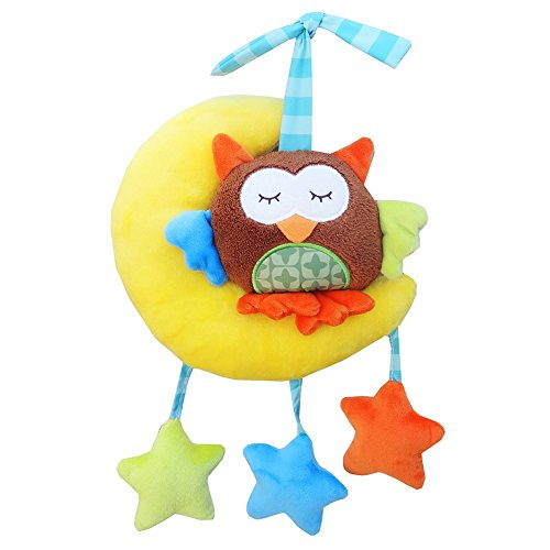 (ETbotu Baby Wind-up Musical Stuffed Animal Stroller Crib Hanging Bell with Music Box Plush Toy Gift for Infant The Moon owl pulls The Bell)