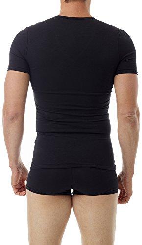 Underworks Cotton Concealer Compression V-neck T-shirt 3-pack Top, 2X, Black by Underworks (Image #2)