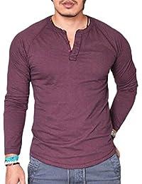 Men's Henley T-Shirt Classic Long-Sleeve Button Crew Neck Top Tees