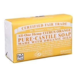 D Dr. bronneras pure-castile bar soap a citrus (2 pack) 94 CITRUS. Fresh and bright smelling - an invigorating blend of organic orange, lemon and lime oils! Our Citrus Pure-Castile Bar Soap is made with certified fair trade ingredients and organic hemp oil for a soft, smooth lather that won't dry your skin GENTLE SOAP. This moisturizing bar soap offers organic and vegan ingredients for a rich, emollient lather. It is ideal for washing your body or face. With no synthetic detergents or preservatives, you can nourish your skin with every wash. MULTI-USE. This multi-use bar soap can be used on its own as a traditional body or face scrub, or you can dilute it in various recipes for anything from a pest spray to laundry wash. This gentle, yet powerful soap is the ultimate multi-use cleaner.