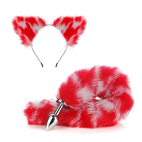 Novetly likelife Fox Tail and Ears Hair Neck Collar Set Halloween Christmas Cosplay Party Costume Toys Gift kiss me Quick YYQXHM (Color : 2pcs)