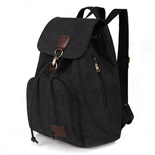 Preppy Student Lady Girl Women School Style Laptop Canvas Backpack Female Black School Bag wqcgnCWxx