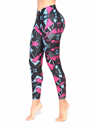 Women Baby Blue Pattern Printed Leggings With Slim And Tone Control By Bon Bon Up