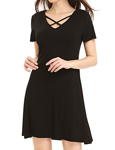 Leadingstar Women Sexy Cross Tie V-neck Solid A-line Drape Shirt