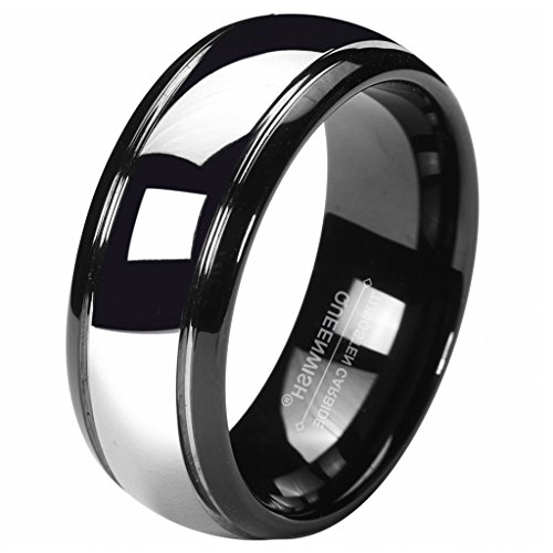 Queenwish 8MM Tungsten Carbide Wedding Band Black Silver Dome Gunmetal Bridal Ring Men Jewelry Size 11.5 - Tungsten Carbide Dome