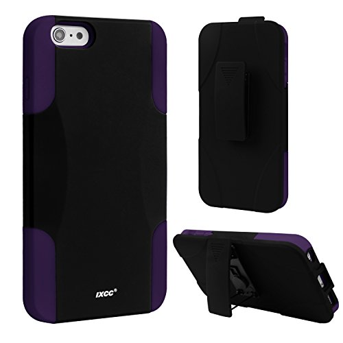 [Three Layer] iPhone 6 Plus / 6s Plus Case, iXCC Kickstand Holster Belt Clip Shockproof Case Cover with Soft Silicone Lining and Hard PC Back - Purple