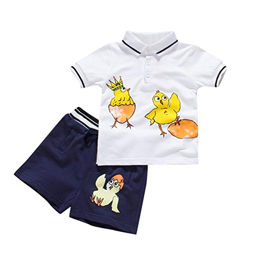 2018 Summer PeiZe Toddler Kids Baby Boys Cartoon Chick Printing T-Shirt Tops+Shorts Outfits Set (80) (Chick Short)