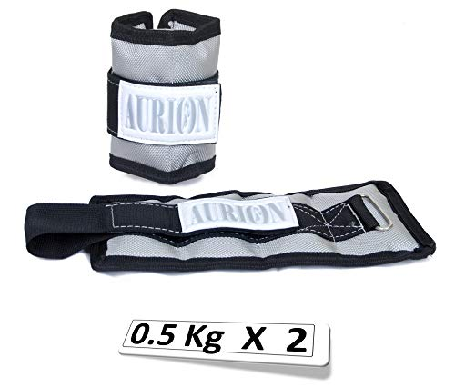 Aurion ANKL 1 kg Ankle and Wrist Weights, 0.5Kg x 2 (Black/Grey)