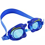 Ipow Kids Cute Dolphin Cartoon Seal Swim Goggle,Safety Pool Goggles,Best for Boys and Girls,Blue