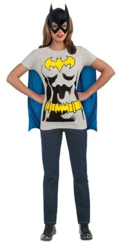 DC Comics Batgirl T-Shirt With Cape And Mask, Black, (Superhero Costume T Shirts)
