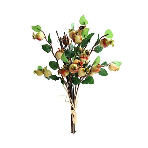 Htmeing Group of 5 Artificial Rosehip Berries Flower Stem Spray Christmas Picks 13″ (Sunset)