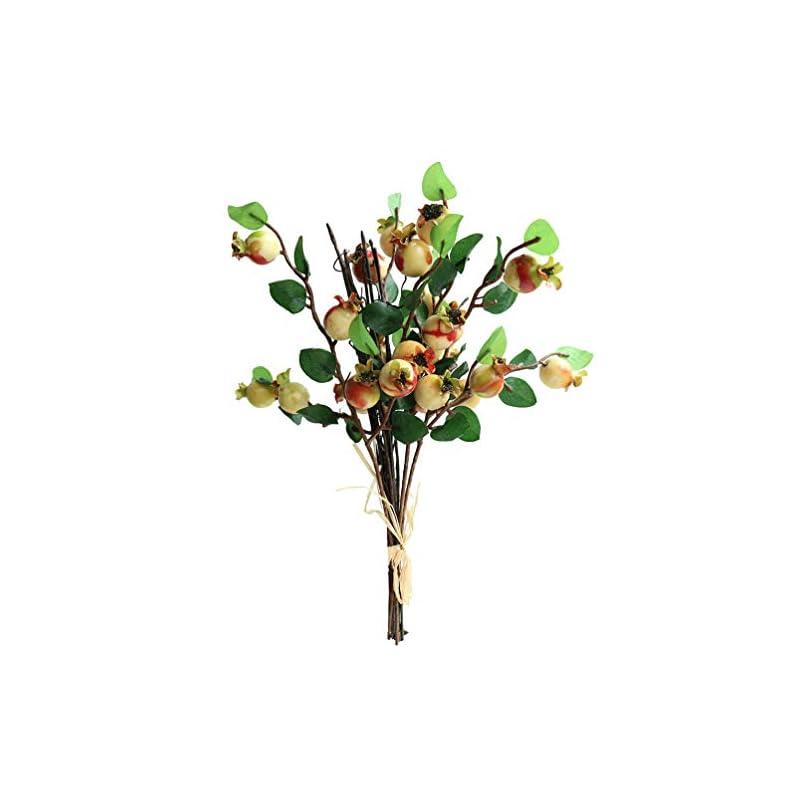 "silk flower arrangements htmeing group of 4 artificial rosehip berries flower stem spray christmas picks 13"" (sunset)"