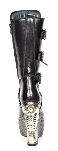 Signore Nuova Roccia Di Lunghezza Wade Stivali Di Pelle Nera In Stile Gotico Retrò Scarpe Piattaforma Tacco - A1003s4