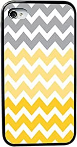 Rikki KnightTM Chunky Chevron Grey Yellow Mustard Zig Zag Design iPhone 4 & 4s Case Cover (Black Rubber with bumper protection) for Apple iPhone 4 & 4s