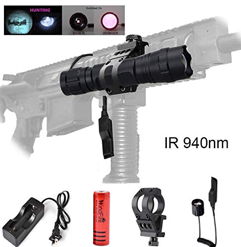WINDFIRE WF-501B 7W IR 940 nm Zoomable Infrared Radiation IR Night Vision Tactical LED Hunting Flashlight Lamp with Pressure Switch, 45°Side Picatinny Mount Rail Offset Ring Side Mount,18650 Battery