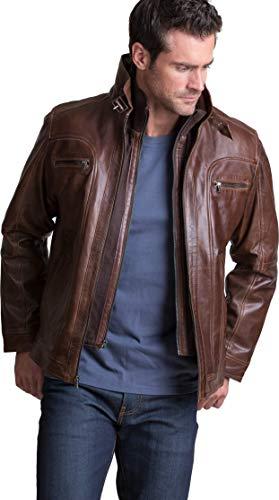 Overland Sheepskin Co Memphis Lambskin Leather Bomber Moto ()