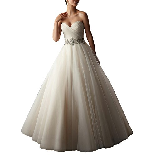 AbaoWedding Women's A-line Strapless Beading Ruched Long Wedding Dress Size 12
