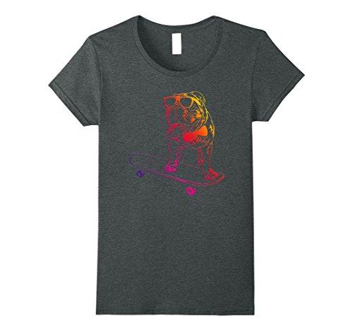 Womens Skateboard English Bulldog T Shirt skateboarding dog neon XL Deep Heather