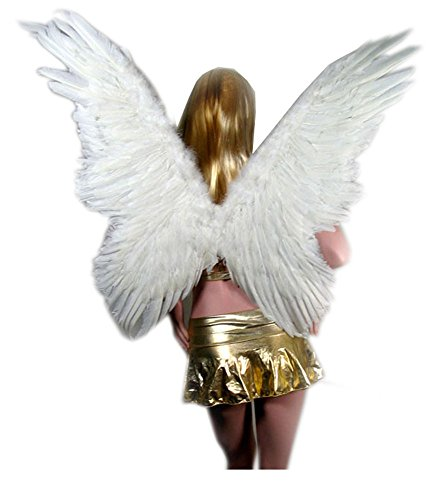 [SACAS Large Feather Butterfly Fairy Angel Wing s in White one size] (Fallen Angel Costume)