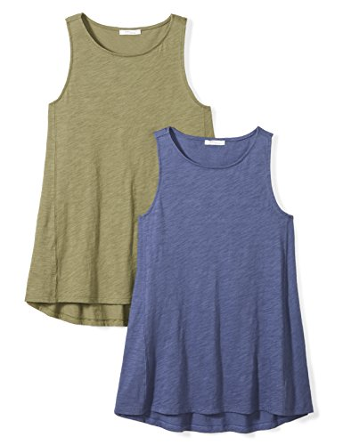 - Daily Ritual Women's Washed Cotton Boat Neck Swing Tank Top, 2-Pack, M, Indigo Blue/Olive Green