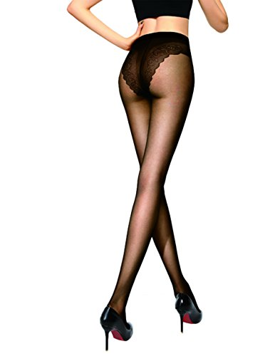 Bikini Crotch Tights Sheer To Waist Control Top Pantyhose Of HONENNA (Medium, Black)
