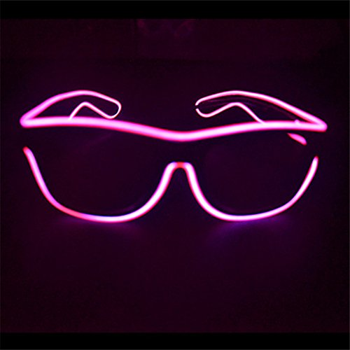 el glasses, el wire with 3v AAA portable controller (Pink)