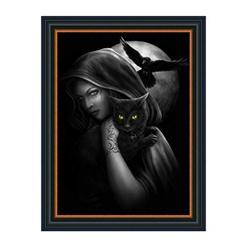 - 5D Diamond Painting Wizard/Witch and Black Cat Full Drill Square Diamond Embroidery Paintings Rhinestones Cross Stitch for Home Wall Decor Gift Adults Beginner (15 x 11 inches)