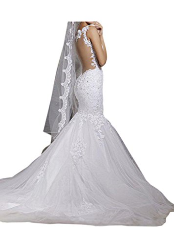 Vienna Bride Glamorous Mermaid White Lace Wedding Dress Bridal Gown with Straps-4-White