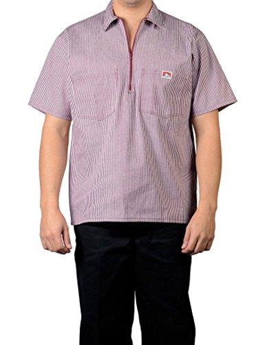 Ben Davis Short Sleeve 1/2 Zip Shirt 174 Burgundy Stripe XXX-Large