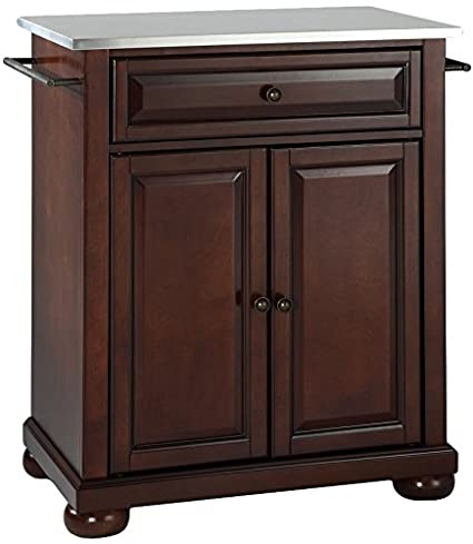 Crosley Furniture Alexandria Cuisine Kitchen Island With Stainless Steel Top    Vintage Mahogany