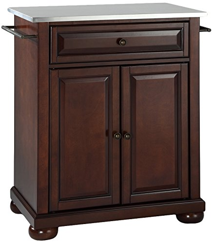 Crosley Furniture Alexandria Cuisine Kitchen Island with Stainless Steel Top - Vintage Mahogany