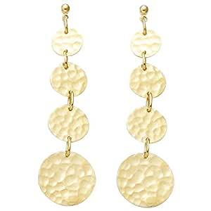 Muy Chic - joyas de 18 K chapado en oro martillado pendientes de gota de 4 discos de