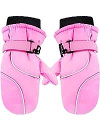 Kids Snow Mittens Winter Cotton-lined Ski Mittens Warm Waterproof Gloves for Children Boys Girls (Pink)
