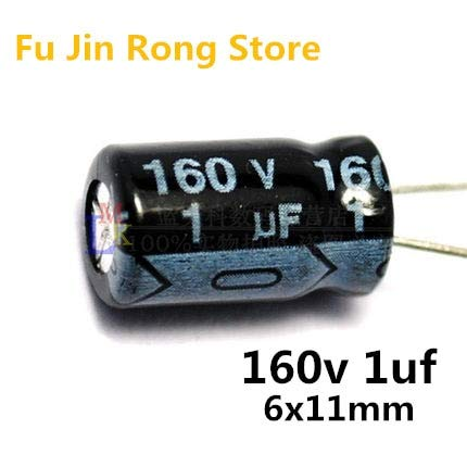 50pcs//lot 160V 1UF 6x11mm 1uf 160v Electrolytic Capacitor ic