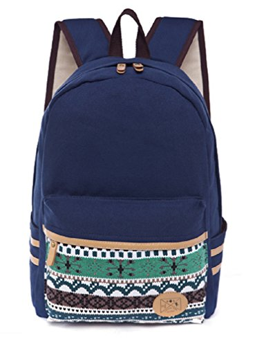 Canvas Sannea Purple VP0185B Stylish Women School Backpack Printed for Navy Tribal Bookbag nqIqgU