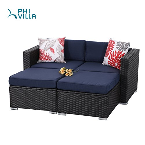 PHI VILLA 4-Piece Patio Furniture Daybed Set Rattan with Seat Cushions, Blue