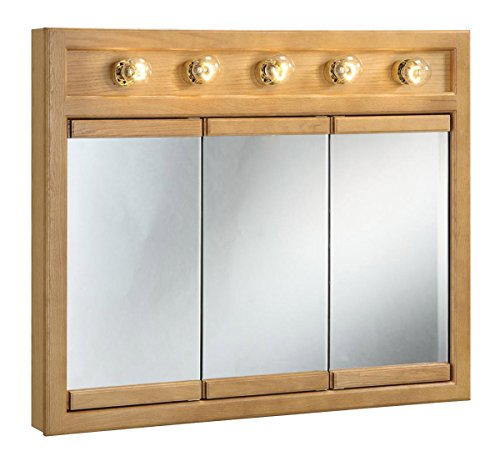 Design House 530618 36-Inch by 30-Inch Richland Ready-To-Assemble 5 Light Tri-View Wall Cabinet, Nutmeg Oak