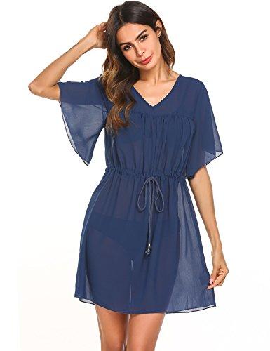 Wildtrest Women's Bathing Suit Cover up Chiffon Bikini Swimsuit Swimwear Beach Dress Navy Blue L