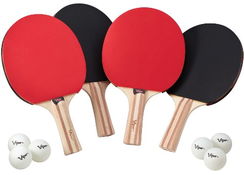 Viper Table Tennis Accessory Set, 4 Rackets/Paddles and 6 (Six Racquet)