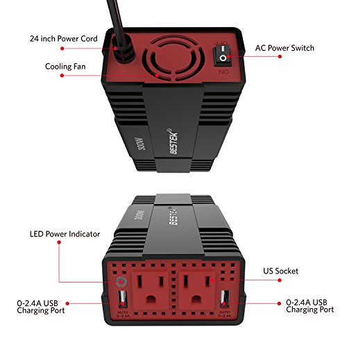 BESTEK 300W Power Inverter DC 12V to 110V AC Car Adapter with 4.8A Dual USB Charging Port by BESTEK (Image #5)