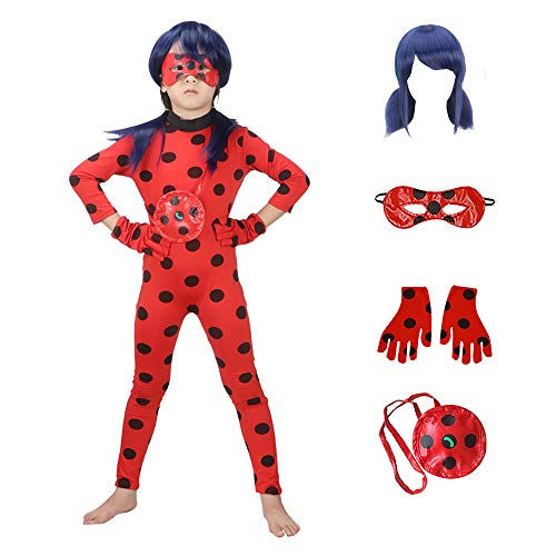 Ladybug Costumes Girls' Cosplay Jumpsuit with Wig,Yoyo,Mask and Gloves 5pcs (New, S)