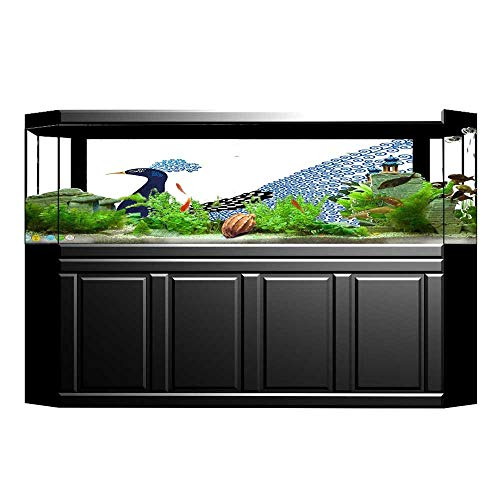 "UHOO2018 Aquarium Background Wild Magnificent Bird with Feather Peacock Modern Image Artwork Dark Blue Blue and Wallpaper Fish Tank Backdrop Static Cling 35.4""x19.6"""
