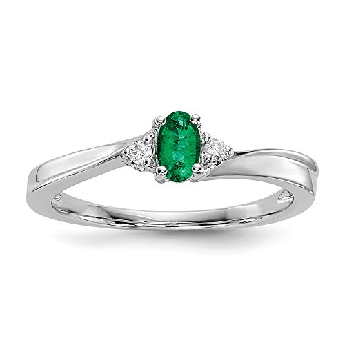 925 Sterling Silver Created Green Emerald Birthstone Band