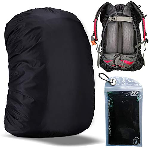 Gryps Waterproof Backpack Rain Cover with Adjustable Anti Slip Buckle Strap & Sliver Coating Reinforced Inner Layer for Camping, Hiking, Traveling, Hunting, Cycling and More, 60-70L(Black)