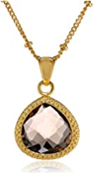 Coralia Leets Jewelry Design 12mm Braided Smokey Quartz Gold Pendant Necklace