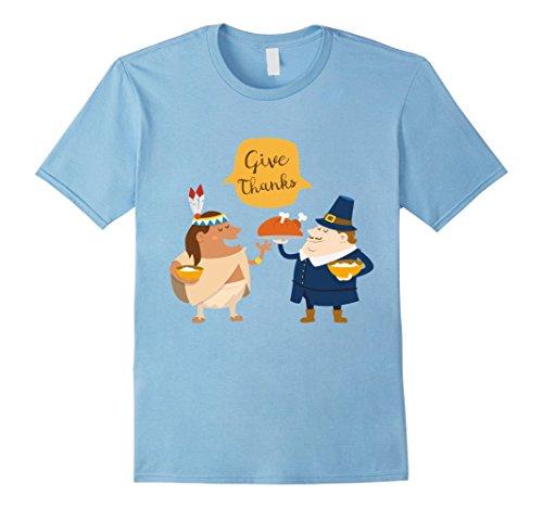 [Men's Give Thanks Happy Thanksgiving  Pilgrim Costume Large Baby Blue] (Baby Pilgrim Costumes)