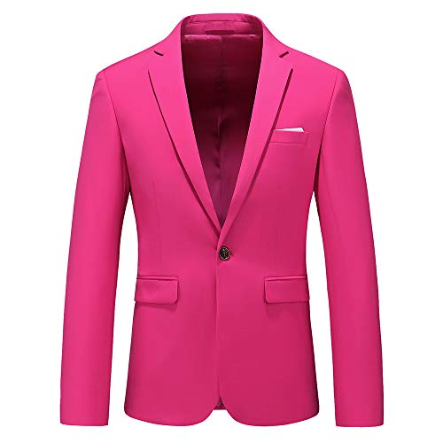 Man's Slim Fit Casual One Button Notched Lapel Turn-Down Collar Blazer Jacket US Size 38 (Label Size 3XL) Pink
