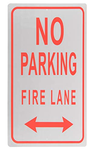 Sign Arrow Double (Fire Lane Sign - No Parking on Marked Fire Lane Warning with Double Headed Arrow, Rust Free Aluminum, Red on White, 18 x 12 Inches)