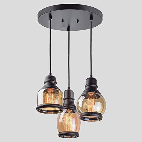 MAHGANYA Antique Industrial Pendant Glass Jar Ceiling 3 Hanging Light with Black Shade for Restaurant Cafe Dining Room…