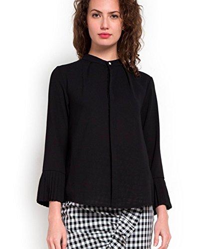c926a5ccc46299 ENL Women s Georgette Pleated Cuff Mandarin Collar Formal Shirt  (ENL 11-Black S  Black  Small)